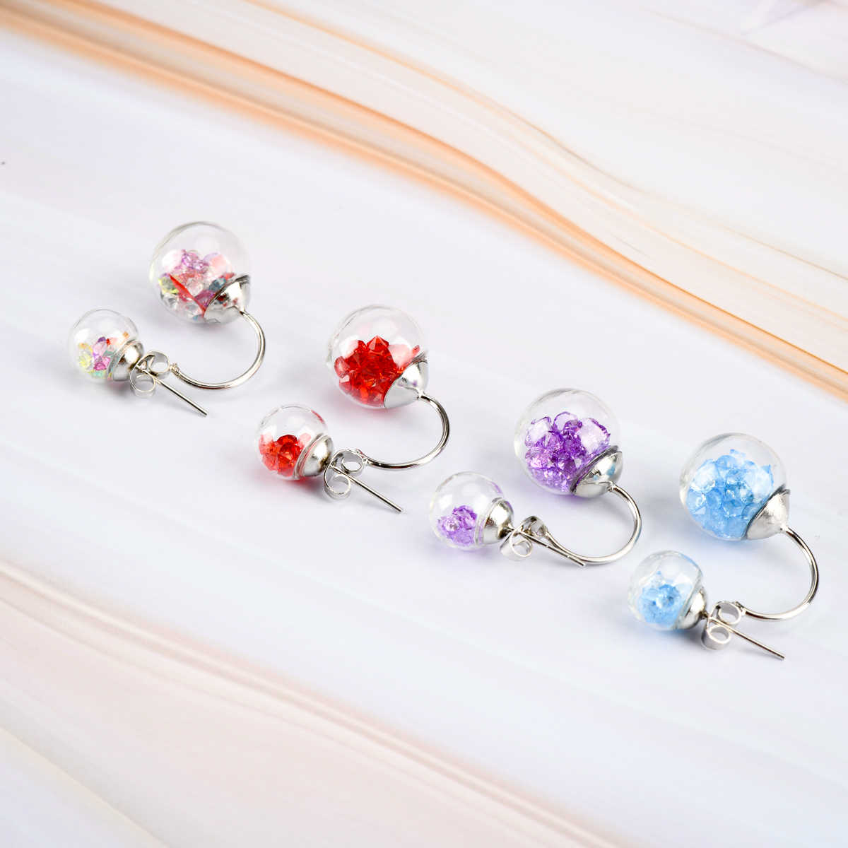 Hollow Glass Ball Earrings For Women Fasion Jewelries DIY Gift Stud Earring For Girls  Wholesale Dropshipping #IZ431