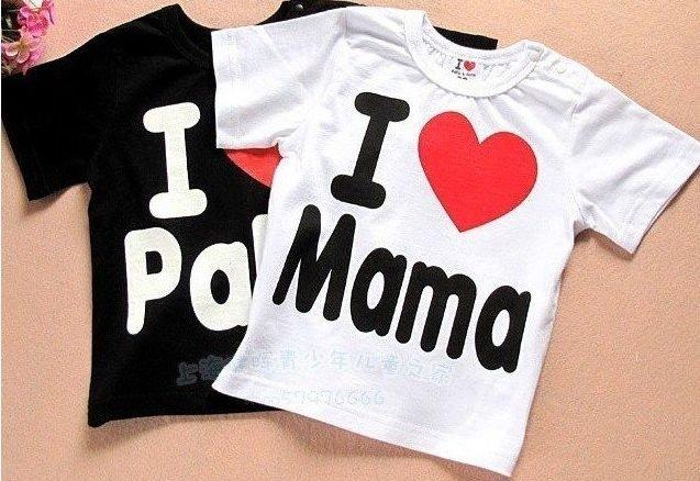 Free shipping Baby clothes baby shirt/T-Shirt boy & girl Short-Sleeve Shirt I love papa mama t-shirt