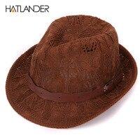 HATLANDER Brand Summer Sun Hats For Men Fedora Jazz Caps Trilby Women Panama Hat Chapeau Feminino