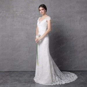 Image 4 - Sheath Lace Wedding Dress Real Photo Cap Sleeve Bow Tie V Back High Quality