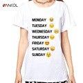 Vancol 2017 white emoji impresso cute funny t-shirt das mulheres curto oversize de manga comprida t camisa das senhoras das mulheres plus size tops xxxl xxxxl