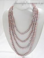 00025 round lavender freshwater pearl necklace AAA