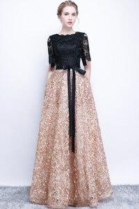 Image 4 - فستان سهرة جديد من SSYFashion العروس أنيق مأدبة أسود مع لون كاكي متباين دانتيل طول الأرض رداء حفلات طويل للحفلات الراقصة