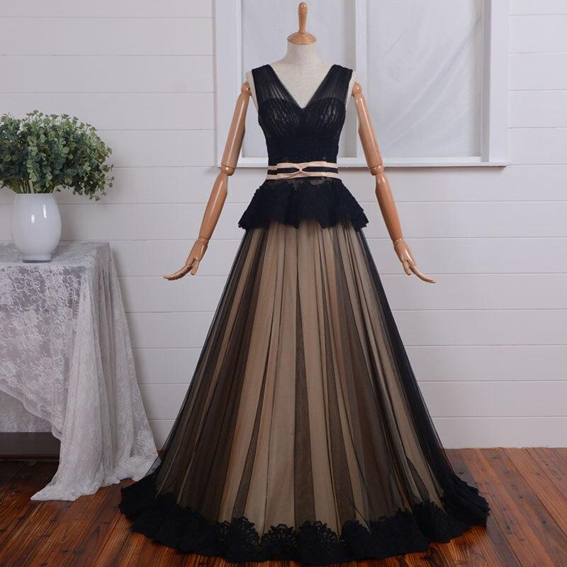 V-neck Black Lace Elegant Formal Evening Gown 2018 Robe De Soire Appliques Sashes Vestido De Festa Mother Of The Bride Dresses