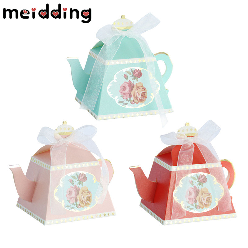 MEIDDING 10pcs Creative Teapot Candy Box With Ribbon Candies Boxes Wedding Gift Baby Shower Souvenirs Kids Birthday Supplies