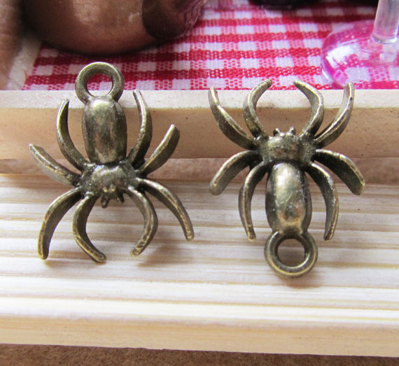20pcs Antique Bronze Spider Insects Charms Pendants 14x18mm B308-3