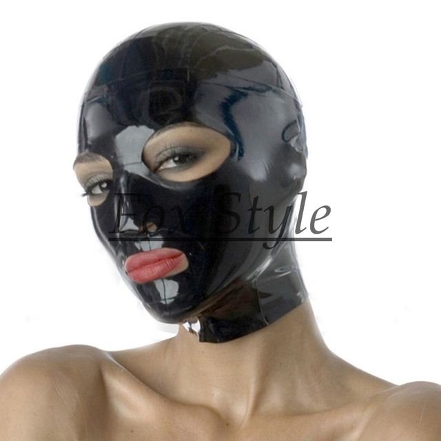 black latex hood with back zip