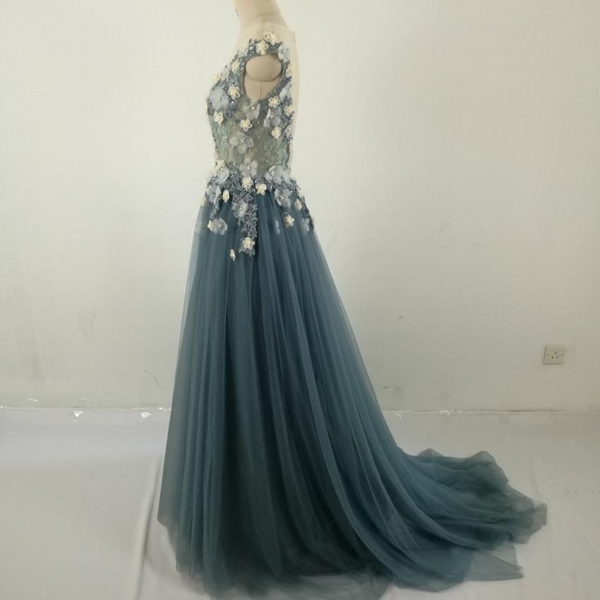 Echte foto Formele lange mouwen jurk Zie door Back Beading bloemen - Jurken voor bijzondere gelegenheden - Foto 3