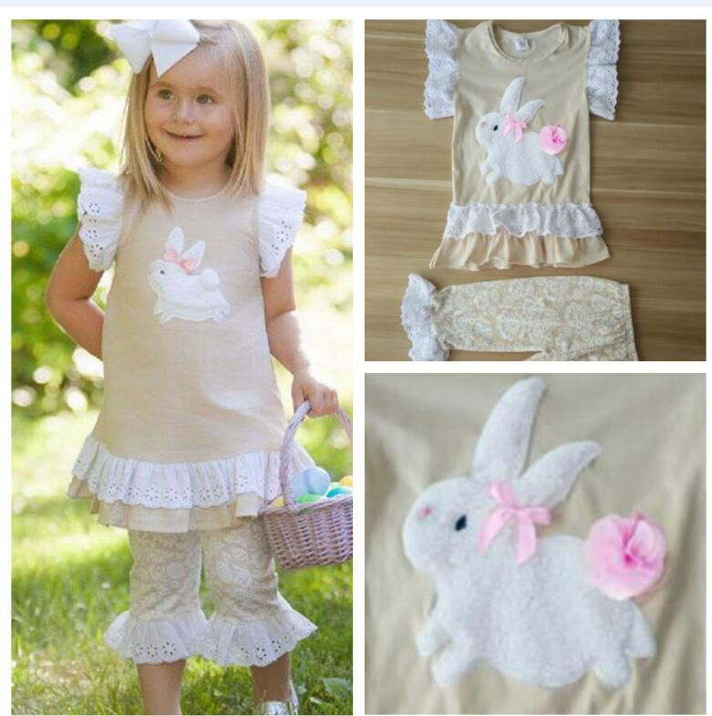 New Arrival Girls Clothing Set Beige Color Bunny Pattern Butterfly Sleeve Top Print Pant For Easter Kids Outfits Clothes E013 2018 new arrival girls clothing set