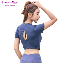 Women Yoga Shirt Femme Crop Running Tshirt Fitness Sportwear Cropped Sport T-shirt Hollow Out Slim Tank Tops Gym Workout Blouse cut out crop ribbed tshirt