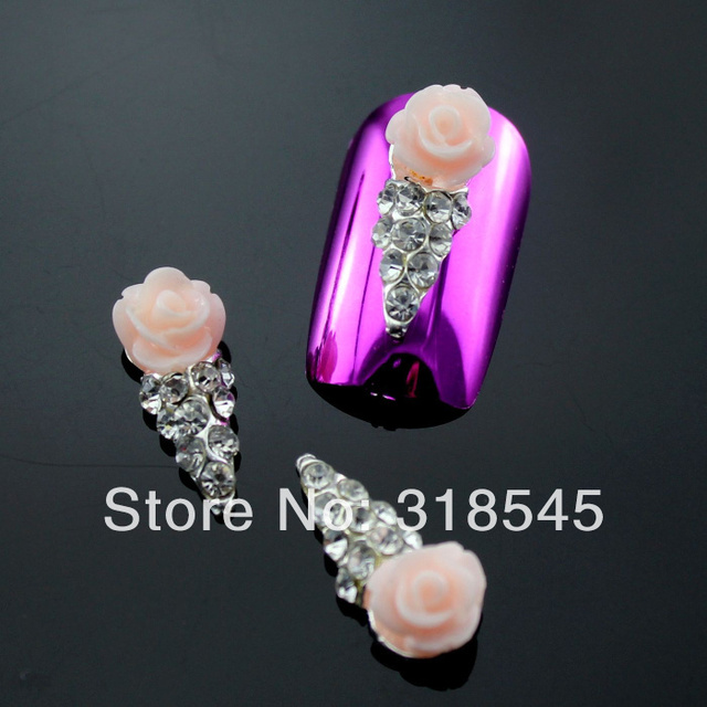 Pink Rose 3d Nail Art Decorations Clear Rhinestone Ice Cream Resin