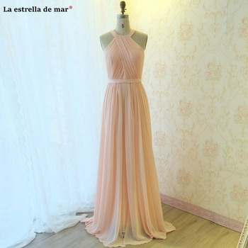 Long dress for wedding party woman new chiffon hanging neck A Line pink purple navy blue black bridesmaid real photo