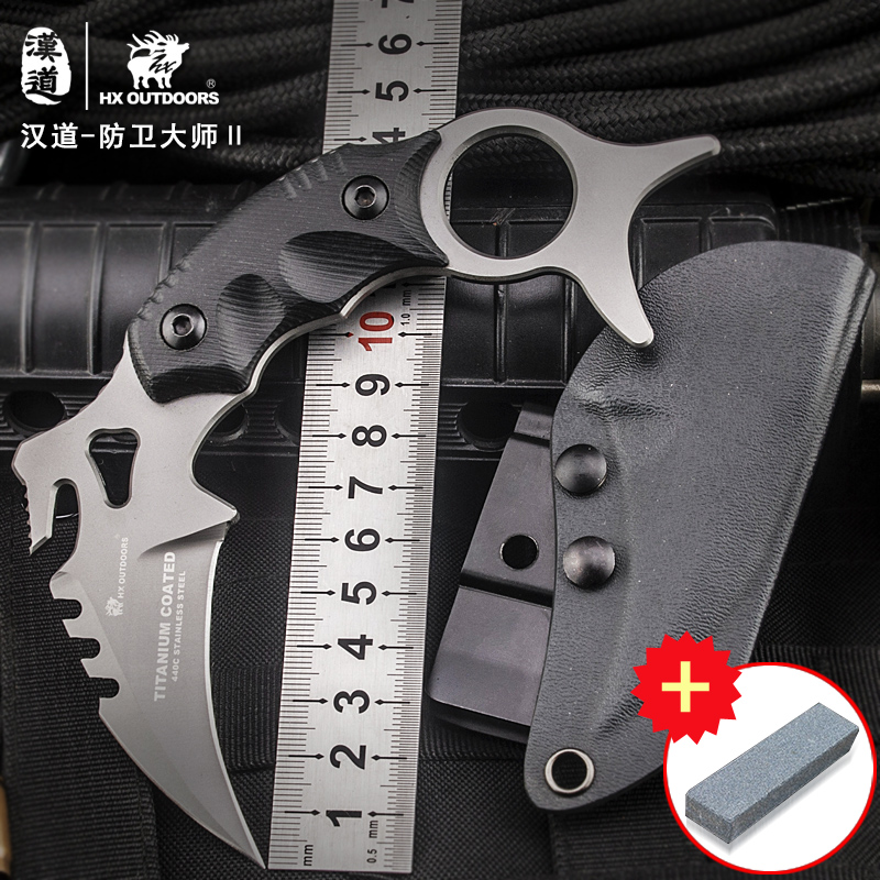 HX OUTDOORS CS go <font><b>karambit</b></font> Defense master D2 <font><b>Karambit</b></font> knife, survival field straight knife, outdoor body with knife image