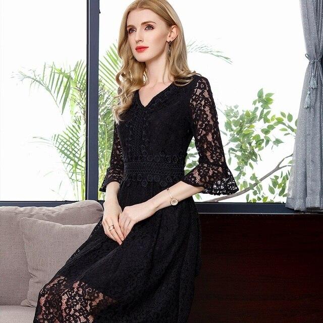 New Arrive Dress Summer Fashion Female V Neck Solid Black Sky Blue