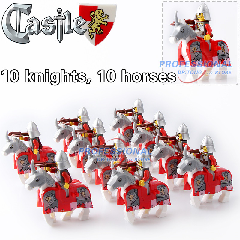 DR.TONG 20pcs/Lot War Horse King Kingdom Medieval Castle Knights with Horse Figures Classic Building Blocks TOYS Children Gifts 1 leader 16pcs lot medieval knights xh645 crusader rome commander super hero building blocks toys children gifts x0164