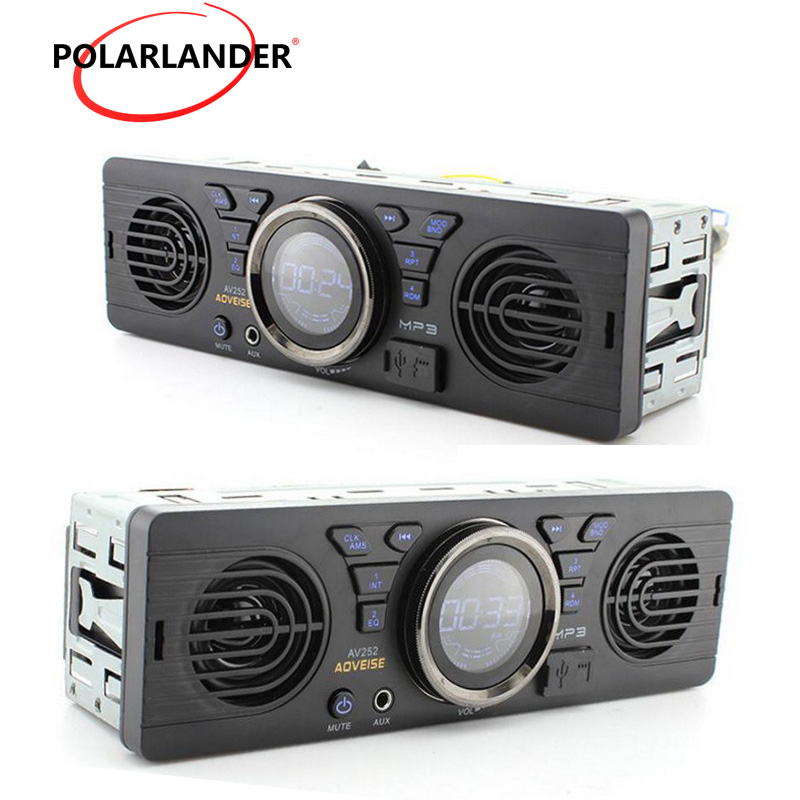 AV252 Built-in 2 Speakers Car Radio 12V Bluetooth Handfree FM USB SD AUX IN Audio In Dash Stereo MP3 Player