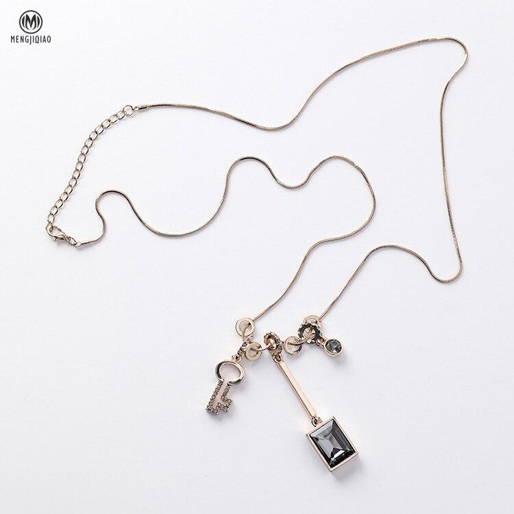 MENGJIQIAO 2018 New Fashion Women Jewelry Sweater Chain Choker Necklace Christmas Gift Key Pendant Kolye