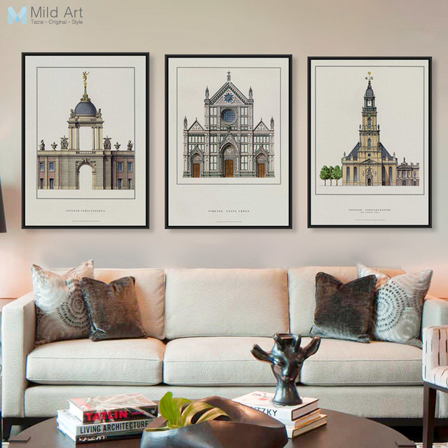 Vintage Rrtro Classic Architecture Europ Palace Church Posters and ...