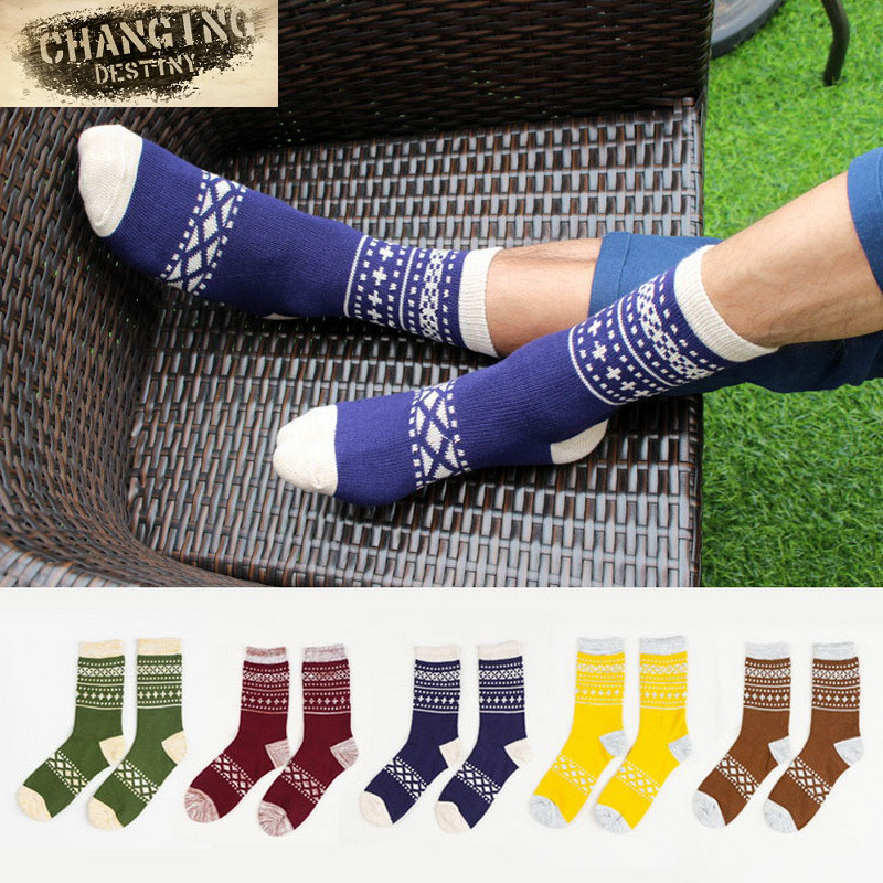 Autumn-Winter Men Cotton Socks Good Quality Cosy Casual Retro Thick Breathable Male Socks