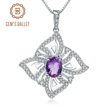 GEMS BALLET 1.30Ct Oval Natural Amethyst Gemstone Butterfly Pendant Necklace For Women 925 Sterling Silver Fine Jewelry