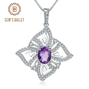 Image 1 - GEMS BALLET 1.30Ct Oval Natural Amethyst Gemstone Butterfly Pendant Necklace For Women 925 Sterling Silver Fine Jewelry