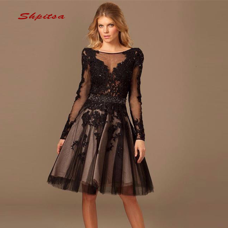 Short Black Lace   Cocktail     Dresses   Party Long Sleeve Sequin Graduation Women Prom Plus Size Coctail Mini Semi Formal   Dresses