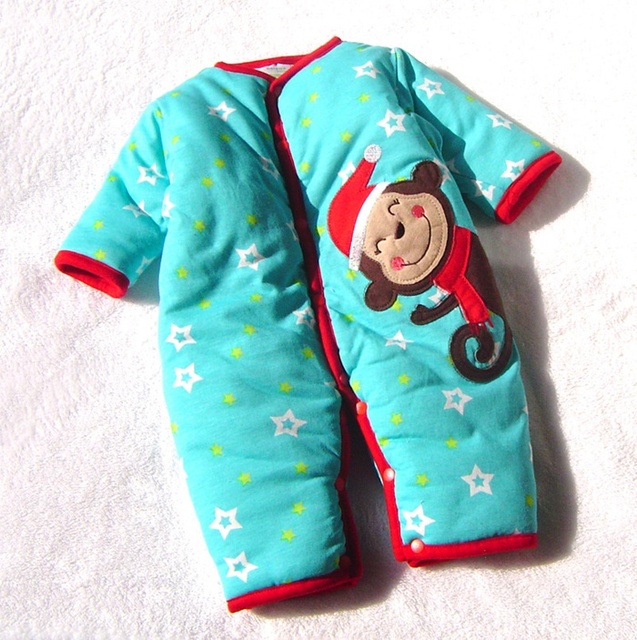 501f807a9 Blue Monkey New Born Warm Cotton Padded Baby Rompers Winter ...