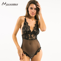 Missomo 2016 New Fashion Women Black Sexy Lace Trim Contrast Bralette Backless Adjustable Straps Hight Leg