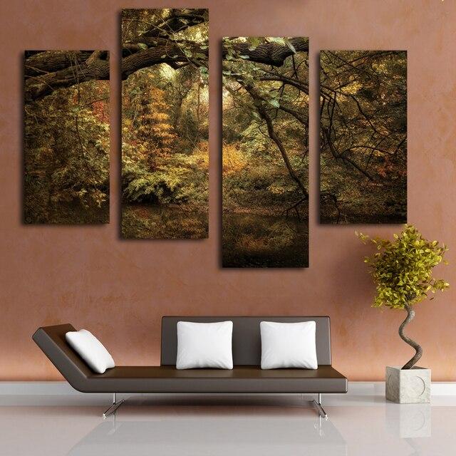 Oud bos schilderen landschap canvas foto grote doek goedkope ...