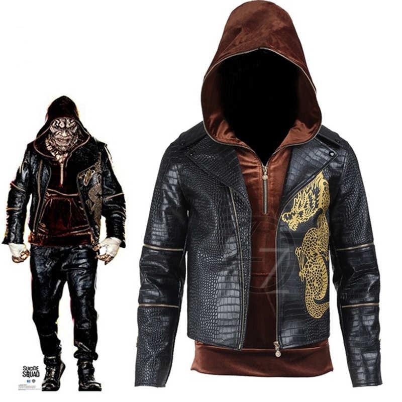 Suicide Squad tueur Croc cosplay costume Halloween costume adulte fantaisie veste hommes tueur Croc à capuche en cuir veste sur mesure