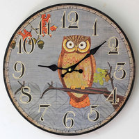 Owl Wood Mute Large Wall Clock Creative Home Digital Electronic Clocks Home Decoration 35*35CM