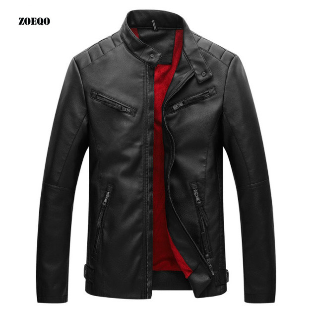 leather jackets men fashion Leather Jacket Inverno Couro men's Stand Collar Jacket motorcycle coat jaqueta de couro masculino