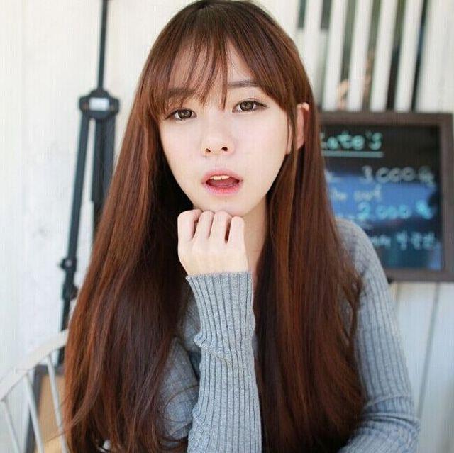 Peluca flequillo largo moda el pelo liso cabeza de pera coreana alta