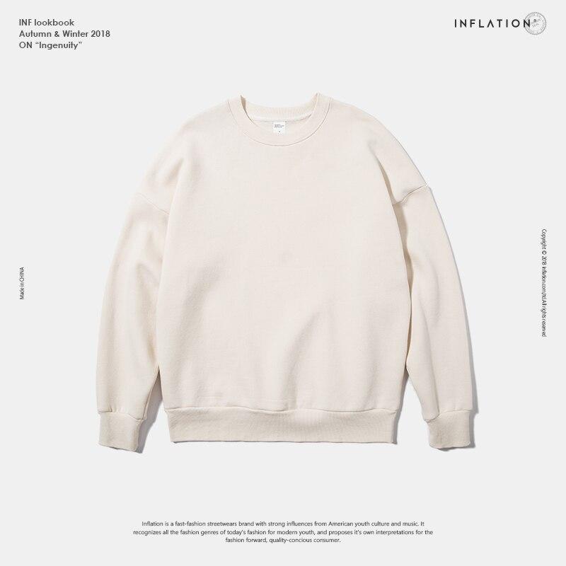 INFLATION Winter Mens Hip Hop Multi-colour Hoodies Velvet Fabrics Fleece Sweatshirts 8 Solid Color Winter Men Sweatshirts 166W17 12