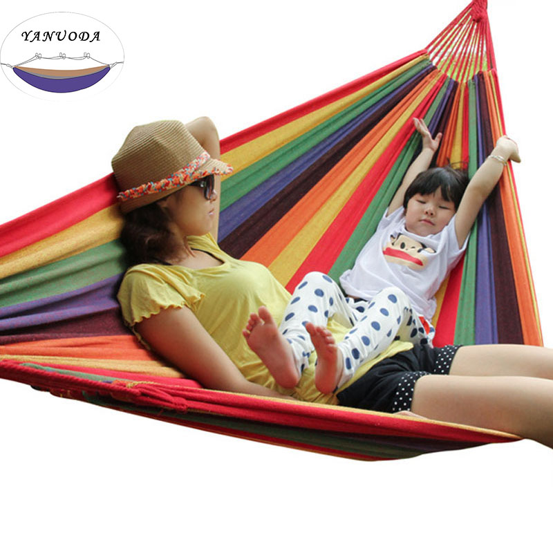 Portable Outdoor Leisure Rope Swings Hammock Camping Backpacking Woven Cotton Fabric Rainbow Striped Garden Bag Hammocks