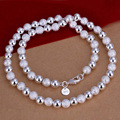 20 inch silver 925 beaded necklace fashion 925 sterling silver jewelry 8 mm beaded men jewelry necklaces