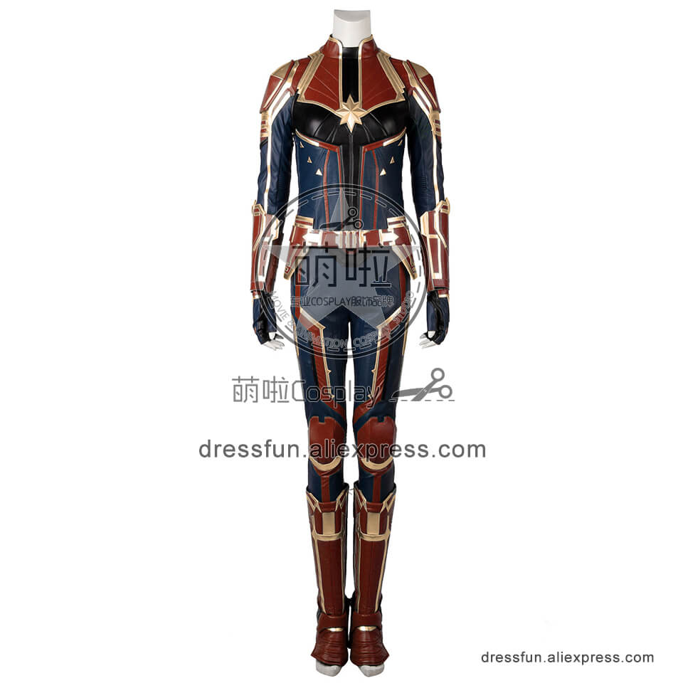 Captain Marvel (film) Cosplay Captain Marvel Costume Red Jumpsuit Uniform Outfit Full Set Fashion Party Fast Shipping Halloween