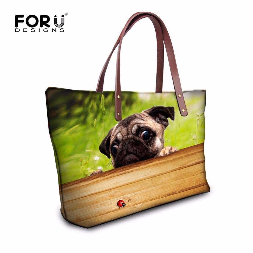 6d04b7f38 Forudesigns مضحك لطيف الصلصال الكلب النساء حقائب النساء عارضة كبيرة حقائب  الكتف حقيبة العلامة التجارية الشهيرة عالية الجودة الحيوان حمل محفظة