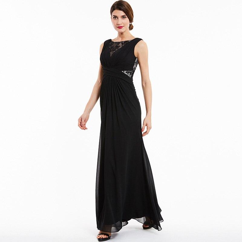 Tanpell bateau kveldskjole svart blonder sleeveless gulvlengde en - Spesielle anledninger kjoler - Bilde 6
