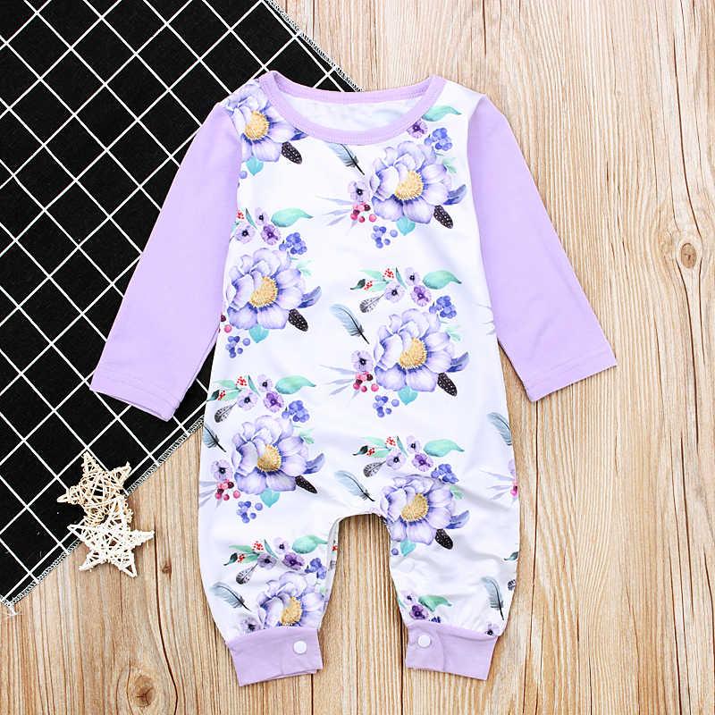 2017 Nuevo estilo recién nacido Niño ropa otoño primavera bebé niñas manga larga Romper púrpura flor impresión ropa cómoda