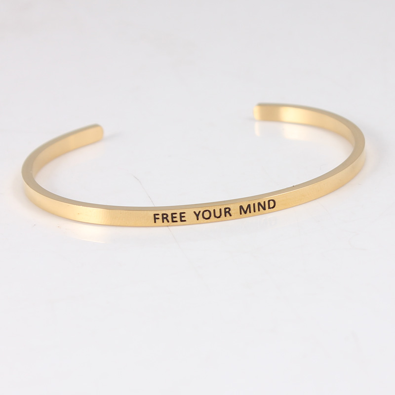 316L Stainless Steel Open Cuff Bracelets Bangles Gold  FREE YOUR MIND Inspirational Mantra Bracelets For Women316L Stainless Steel Open Cuff Bracelets Bangles Gold  FREE YOUR MIND Inspirational Mantra Bracelets For Women