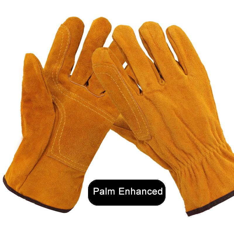 60cm Long Cowhide Welding Protective Gloves Hand Safe Covers Heat Resistant