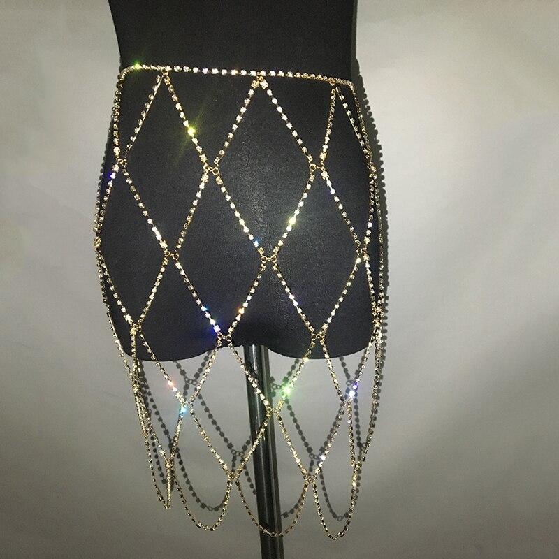 AKYZO 2018 Fashion Crazy Rhinestone Alloy Skirt Women Sexy Shine Gold Silver  Fishnets Chain Handmade NightClub Beach Mini Skirt-in Skirts from Women s  ... c4a555283cd2