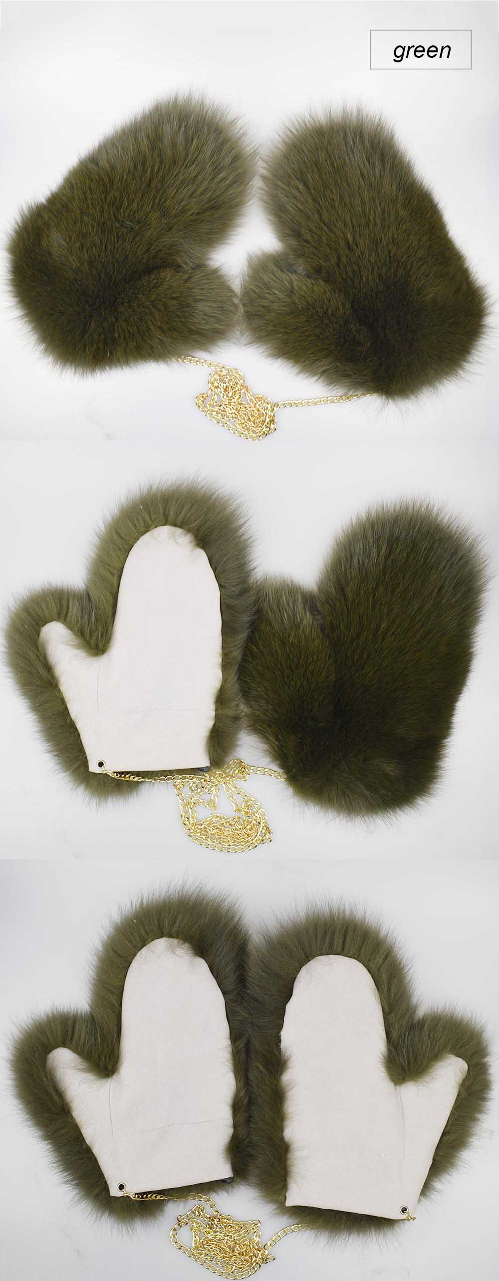 fox fur gloves color green