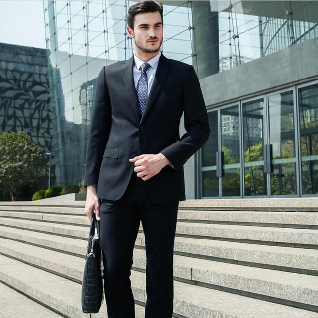 Bonito Homens Elegantes Ternos Blazer Casual Jacket + Pants 2 PCS Do Noivo Desgaste Terno Masculino Desgaste do Negócio de Meio-idade