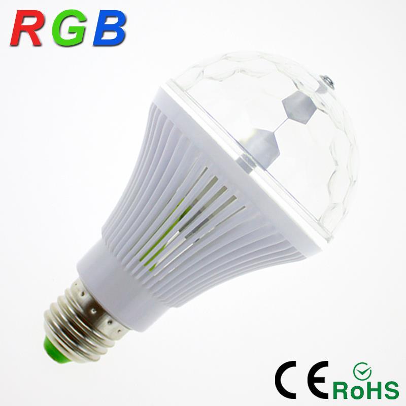 YNL 2017 Colorful Auto Rotating RGB Crystal Stage Light 6W E27 85-265V Magic Double Balls DJ Party Disco Effect Bulb Lamp