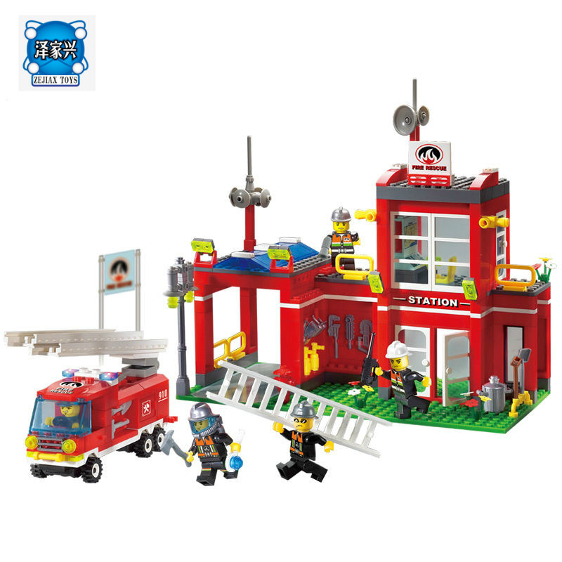 Enlighten Fire Station Rescue Control Fire Bureau 910 Building Block Assembling Model Brick Compatible Lepins Eduction Toys Gift hot elves long after the rescue ction fairy building block model compatible lepins