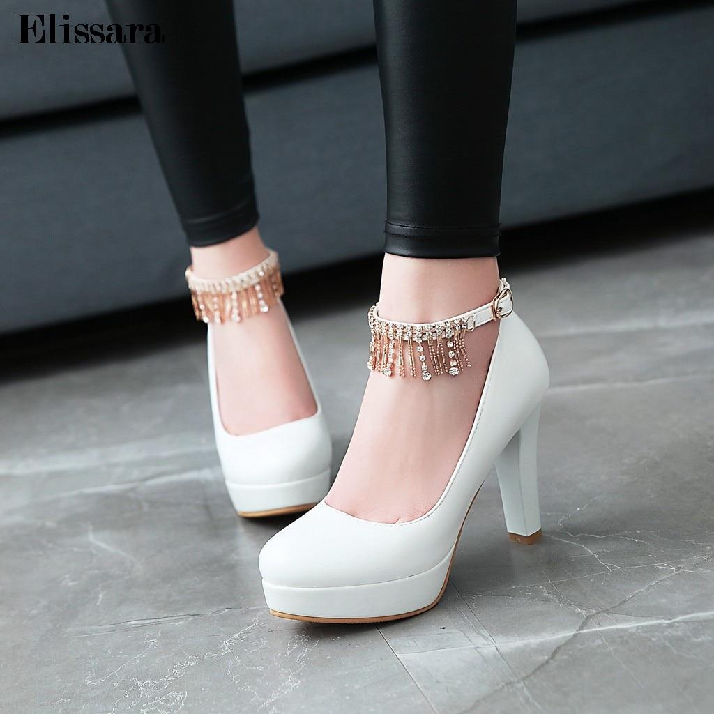 Женская свадебная обувь; туфли лодочки на высоком каблуке; женские пикантные туфли на платформе с круглым носком и ремешком на щиколотке; Цв... - 4
