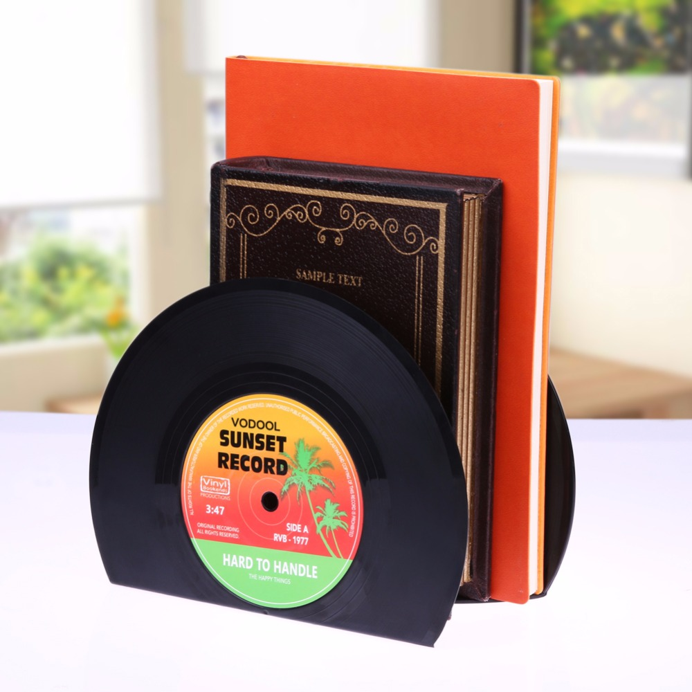 VODOOL 1Set/2Pcs New Arrivals Retro Office Accessories Record Bookends Vinyl Bookends Desk Organizer Desktop School Book Holder