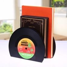 VODOOL 1Set 2Pcs New Arrivals Retro Record Bookends Vinyl Bookends Desk Organizer Desktop School Office Accessories